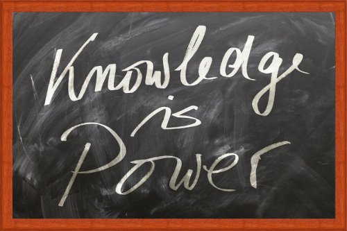 Knowledge is power sign on blackboard
